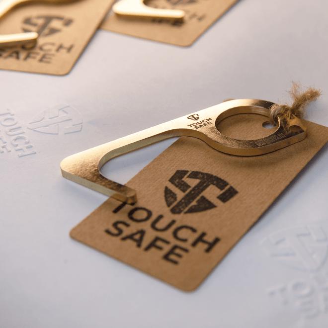 Touch Safe Brass Keychain